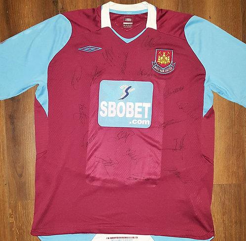 West Ham utd home shirt 08/09 squad signed