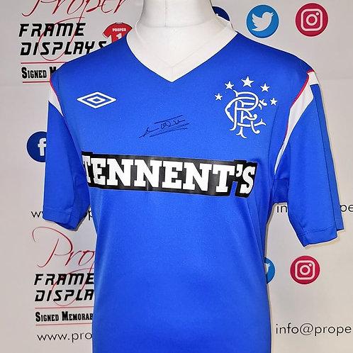 Davie Weir signed Rangers shirt