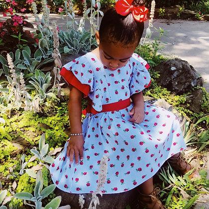 Rose Flutter Sleeve Dress