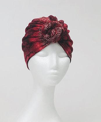 Red Snakeskin Turban