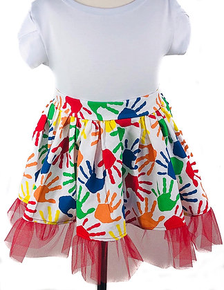 Handprint Skirt with Tulle ( Tulip Sleeve Bodysuit/Onesie sold separately)