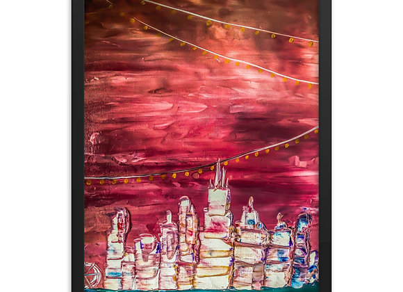 Abstract Chicago Skyline Framed Poster Print
