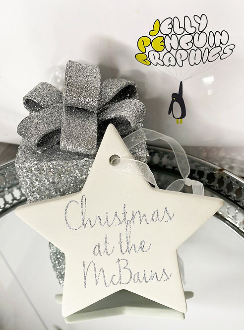 'Christmas at the' Personalised Ceramic Star