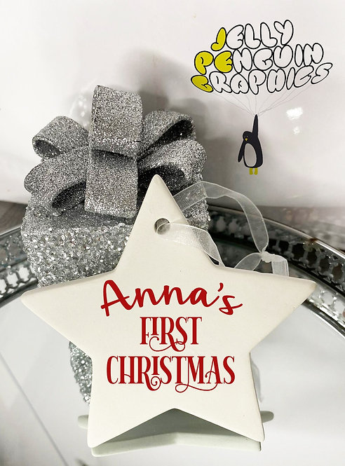 Personalised First Christmas Ceramic Star