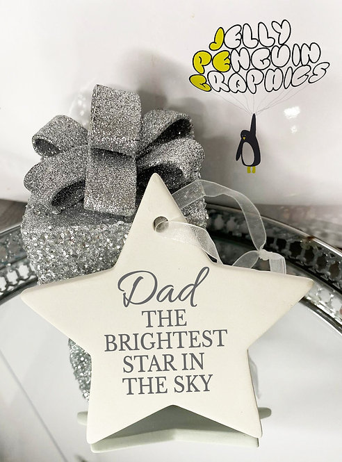 Personalised Message Christmas Ceramic Star