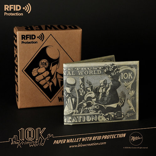 """[10K & The Kriminal World] - Paper Wallet With RFID Protection """"10K Dollar Bill"""""""