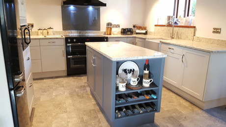 Painted Kitchen with a Darker Island unit
