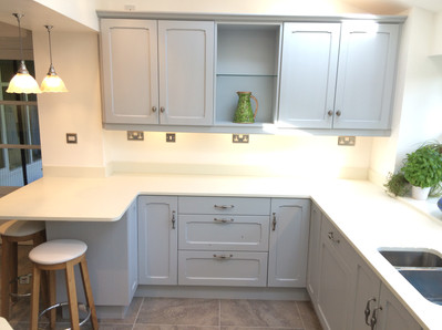 This is a different side of the kitchen where you can really see the beautiful Quartz worktop, this type of worktop means you can have an under mounted sink