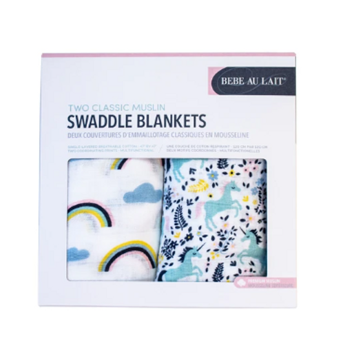 Two-Pack Swaddle Blankets | Unicorn & Rainbow
