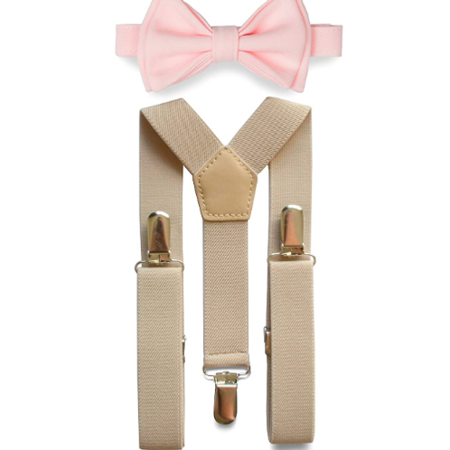 Bow Tie and Suspenders Set - Light Pink/Tan