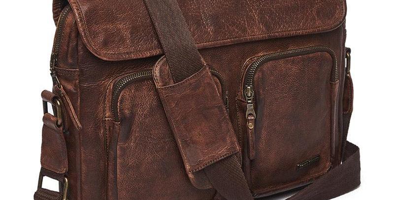 Vintage Leather Sling Bag Brown Messenger