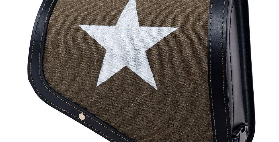 Stoff/Leder-Solotasche - Indian Scout Bobber - Farbe:  grün / schwarz (Star)