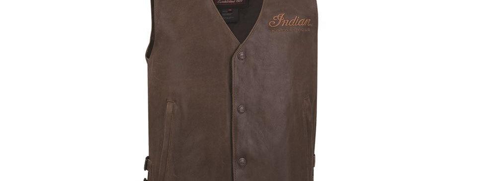 Indian Men's Vintage Leather Vest - XL - braun