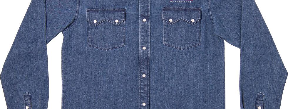 Indian Mens Denim Shirt - XL - blau