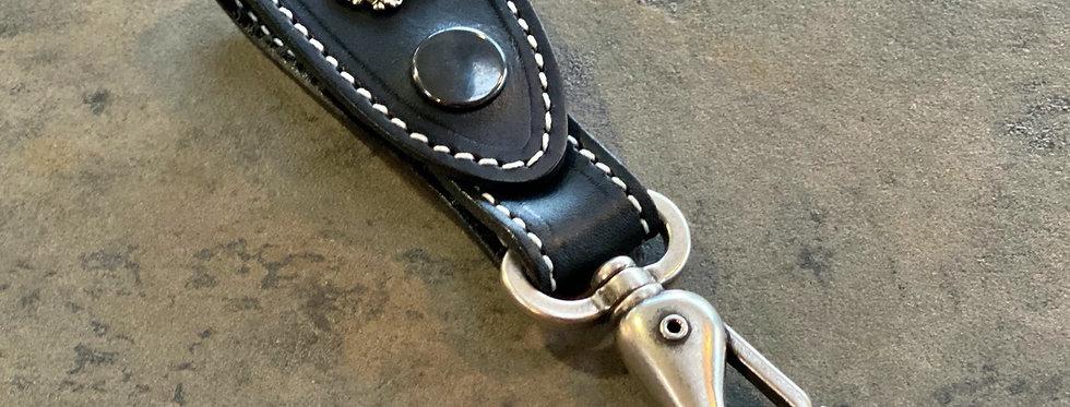 Frachtkarabiner Leder - Indian - schwarz / weiß