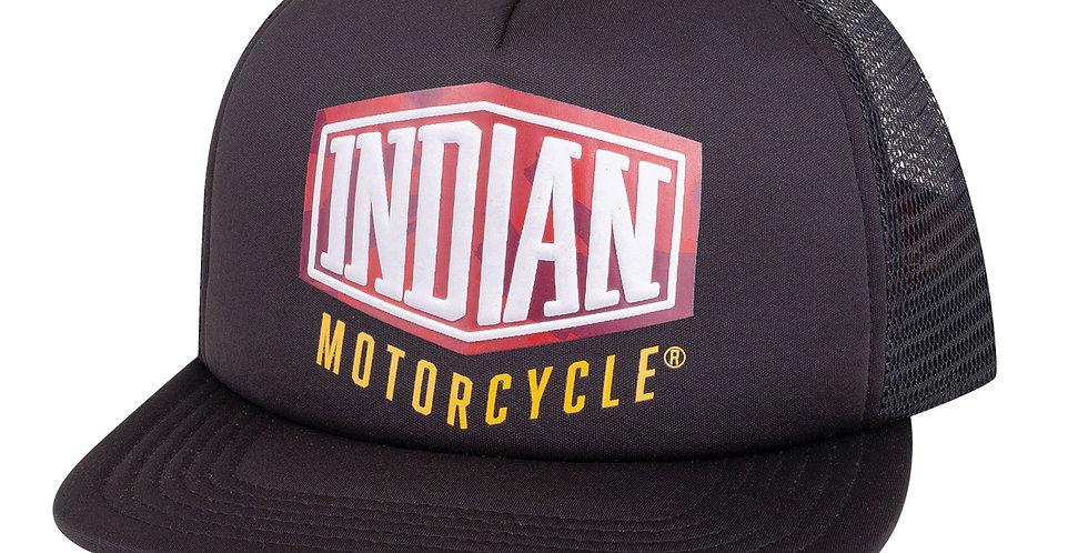 Indian Camo Logo Trucker Hat, Black
