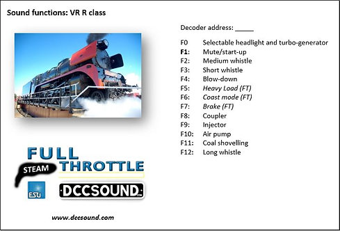 VR R class (steam) Full Throttle sound project