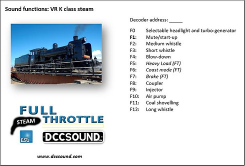 VR K class (steam) Full Throttle sound project