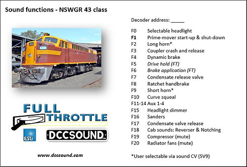 NSWGR 43 class (D/E) Full Throttle sound project
