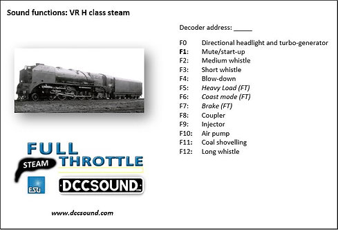 VR H class (steam) Full Throttle sound project