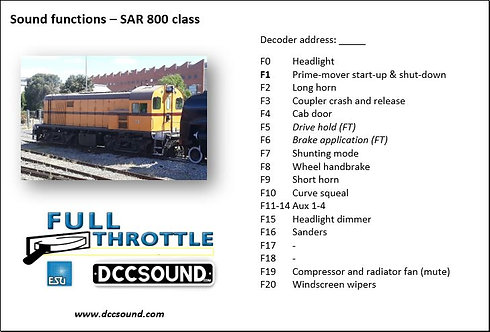 SAR 800 class (D/E) Full Throttle sound project