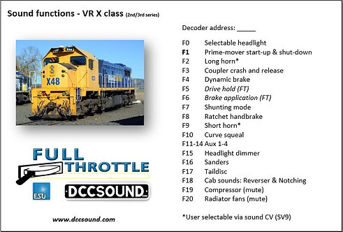 VR X class - 2nd/3rd series (D/E) Full Throttle sound project