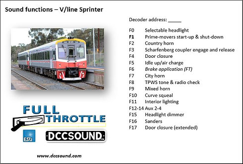 V/Line Sprinter Full Throttle sound project