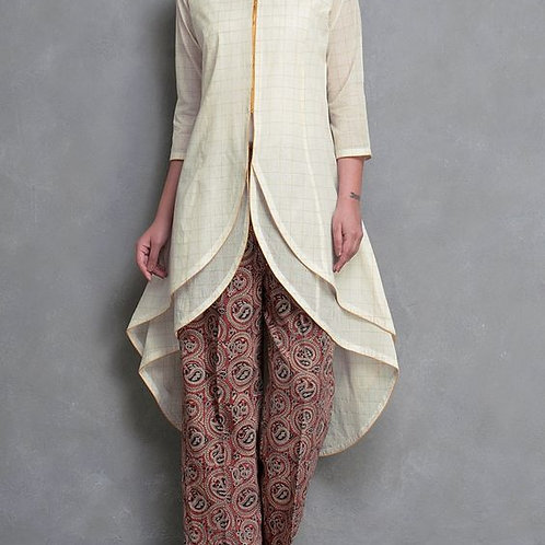 Cream Golden Zari Checks & Layered Cotton Kurta