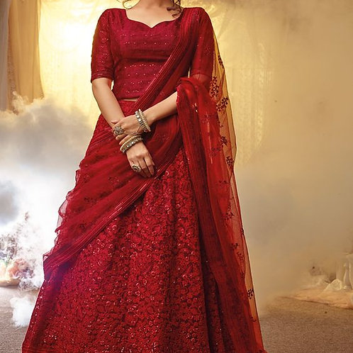 Exclusive Red Georgette Embroidery Work Designer Circular Lehenga Choli