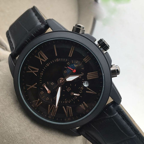 Mat Black Genuine Leather Roman Numeral Men's Watch