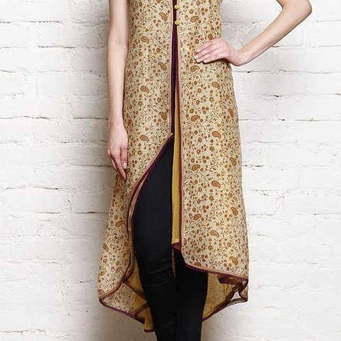 Designer Cream Color Kurti With Black Trousers
