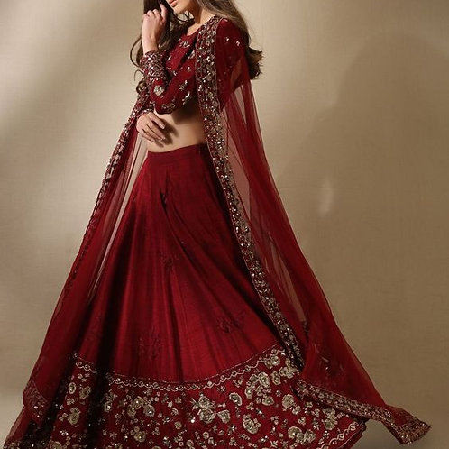 Red Color Attractive Designer Embroidered Lehenga Choli