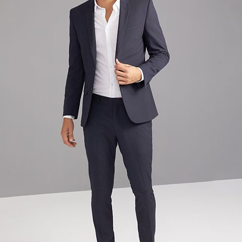 Black Cotton Self Suit Men's Casual Outfit