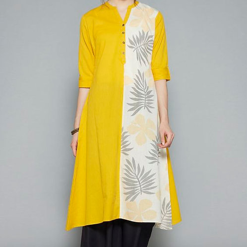 Sleeves Printed Kurta Yellow Cotton Super Awesome Indian Formal