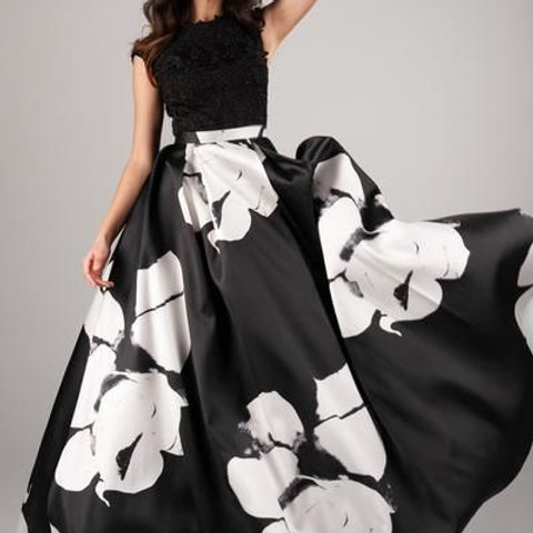 Modest prom dress with bold pattern, Ball Gown style