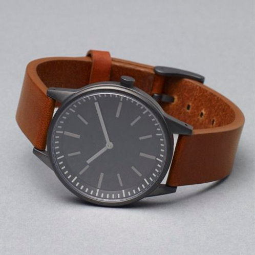 Brown Leather Belt With Black Dial Men's Watch