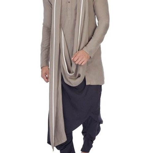 Stylish Short Kurta With Cowl dhoti pants For Men's