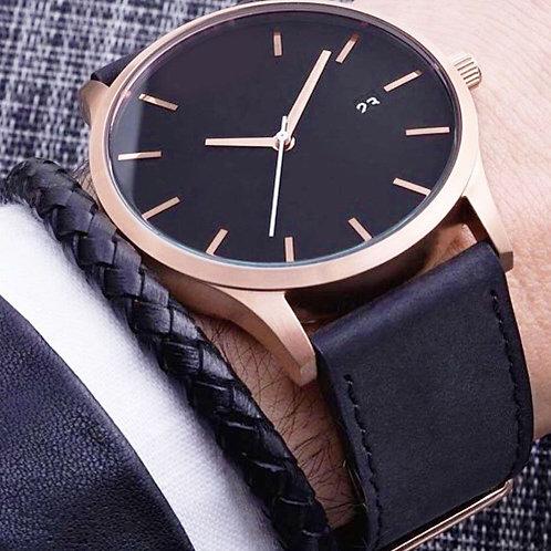 Stunning Golden Round Dial Leather Watch