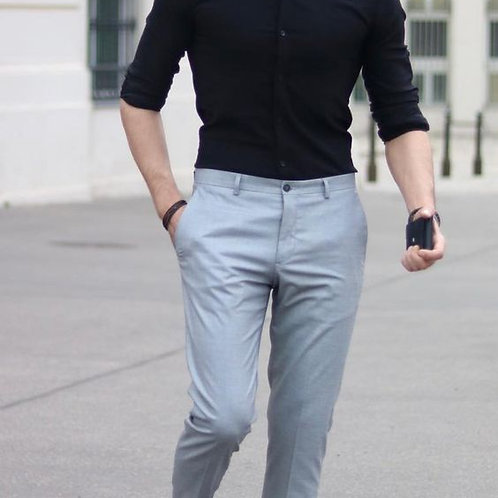 Mens Trendy Stylish Outfit Dark Black Shirt With Ash Colour Paint