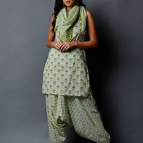 White Green Hand Block Printed Cambric Cotton Kurta with Harem Pants and Scarf