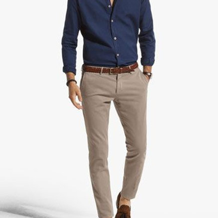 Chino Trousers Attractive Men's Outfit With Indigo Stylish Shirt