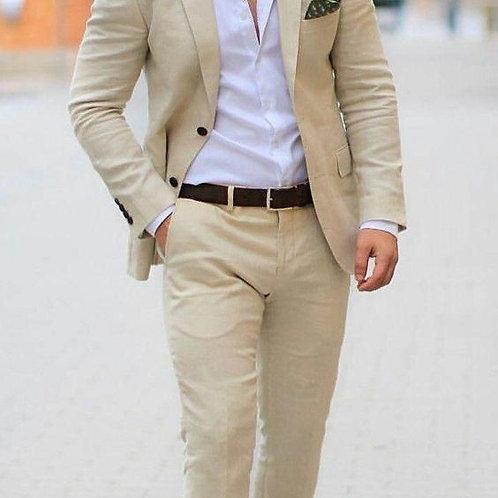 Khaki Casual Linen Men Suit Slim Fit Street Style Party Prom Suit