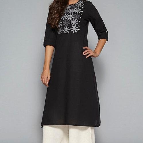 Simple Black Embroidery Straight Kurta For Womens