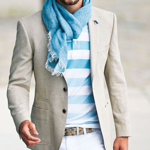 New Trendy Mens Outfit With Blue Scarf For Layering
