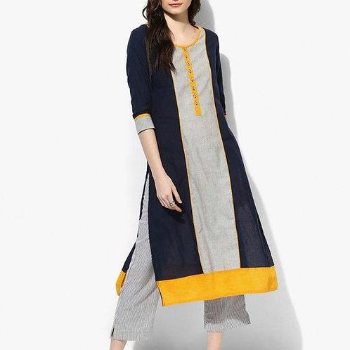Navy Blue Mangalgiri Cotton Kurta Patterns Dress