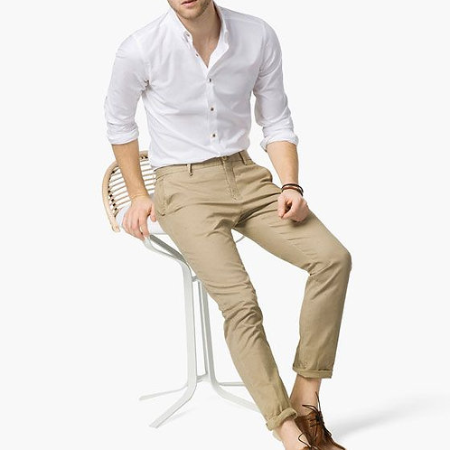 Mens Casual Sandcastle Colour Pant With Stunning White Shirt