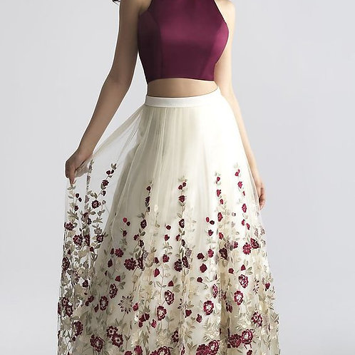 Charming Two-Piece Prom Dress A-Line Prom Dress with Embroidery Burgundy Sleevel