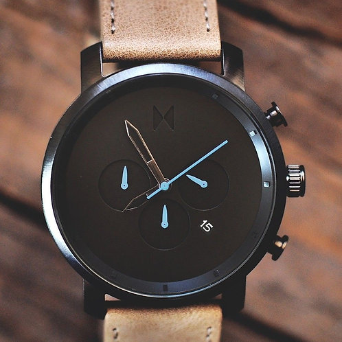 Casual Mat Black Dial With Brown Leather Belt Mens Watch