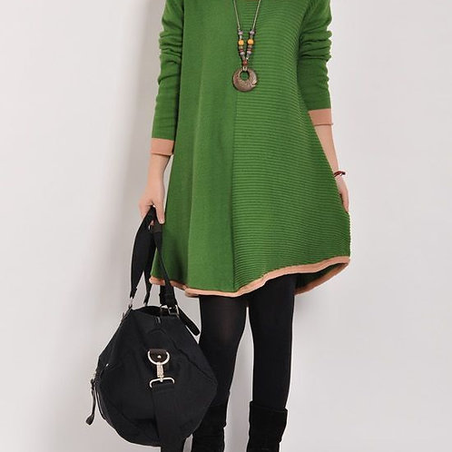 Stylish Green Colour Half Kurti With Black Trousers