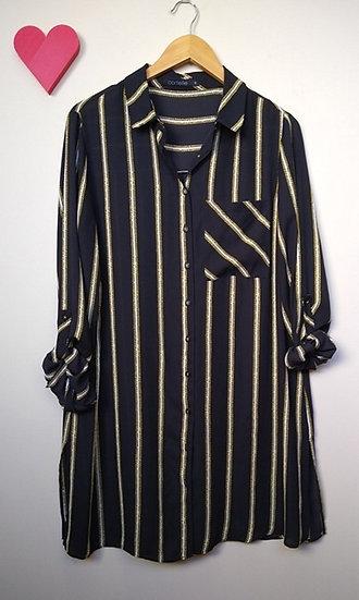 Camisa alongada listrada Cortelle - G